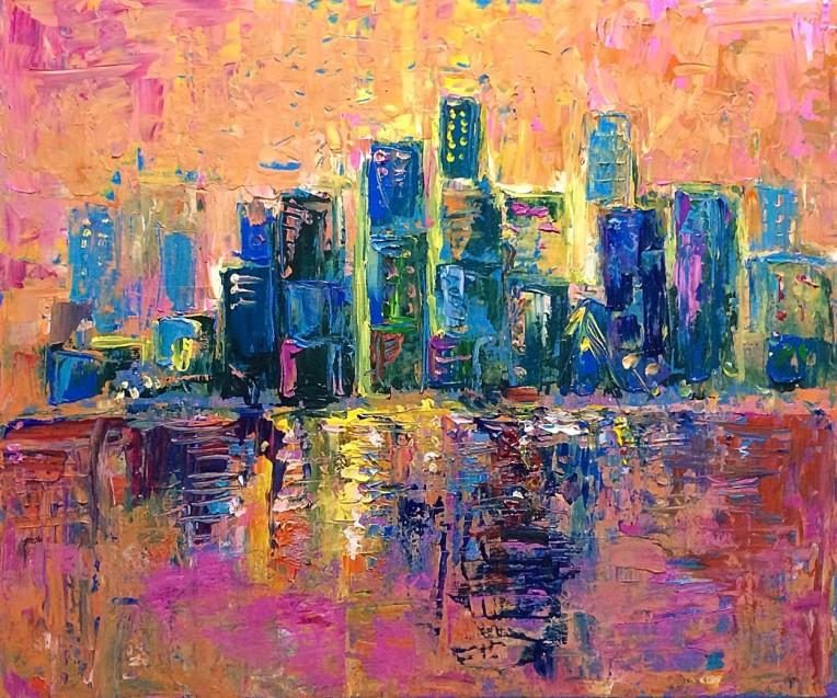 Pink Sky, Original Acrylic on canvas by Adriana Dziuba