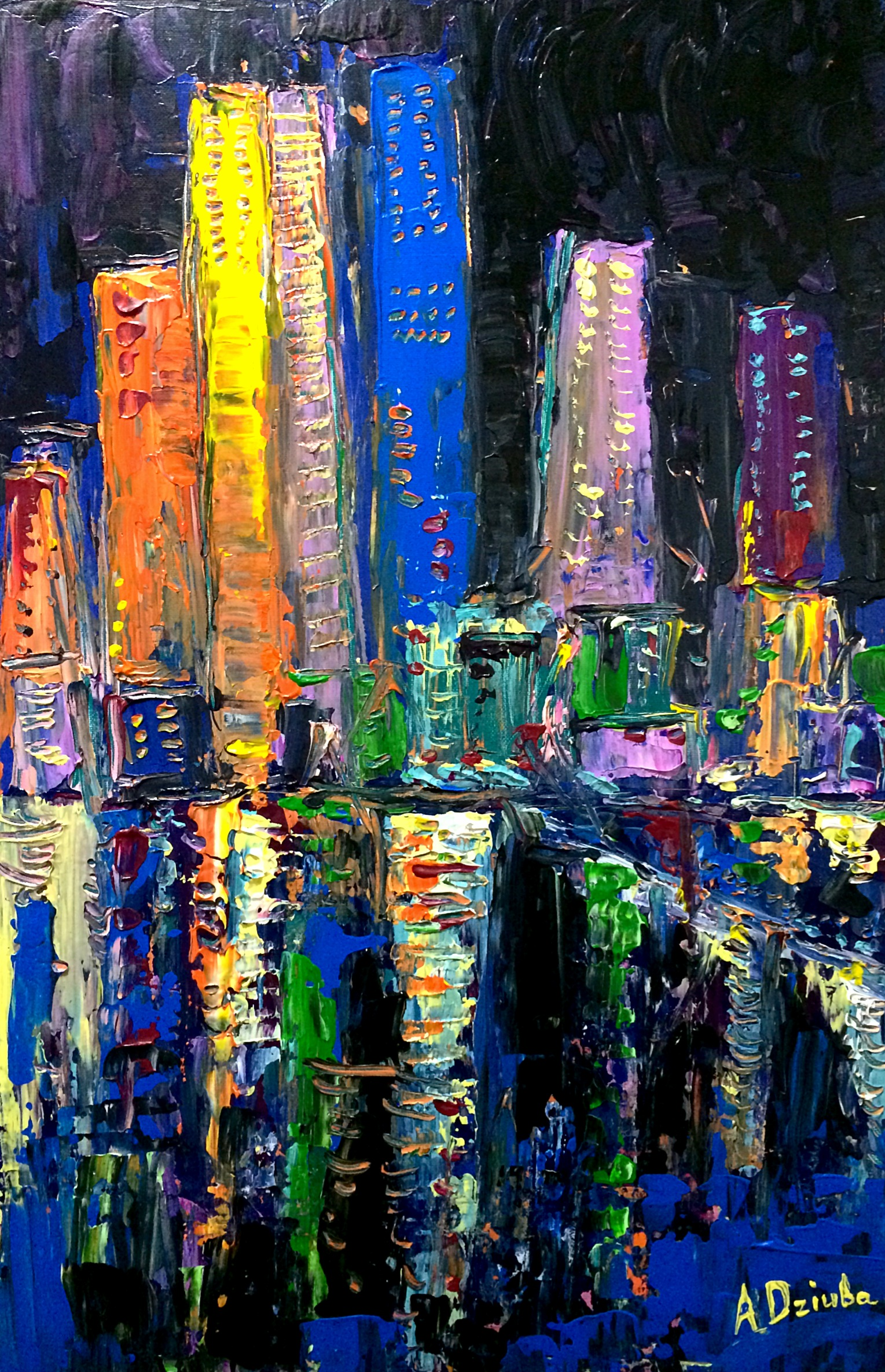 Night Colours - Original abstract painting of the Hong Kong skyscrapers by Adriana Dziuba