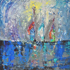 Three Sailboats original palette knife painting of sea and sailboats gift modern art office art decor home decor gift idea