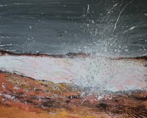 Breaking Waves #1, original, seascape, abstract, acrylic, painting of waves, ocean painting by Adriana Dziuba