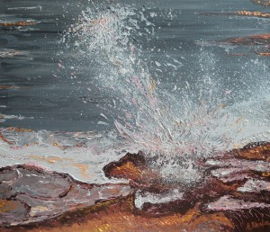 Breaking Waves #2, original, seascape, abstract, acrylic, painting of waves, ocean painting by Adriana Dziuba
