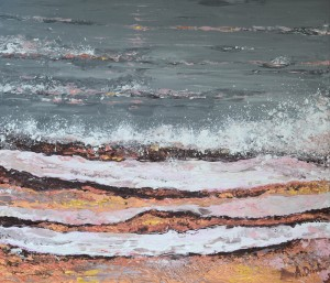 Breaking Waves #3, original, seascape, abstract, acrylic, painting of waves, ocean painting by Adriana Dziuba