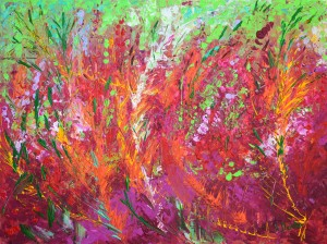 Fiery Meadow original palette knife acrylic painting on canvas by Adriana Dziuba