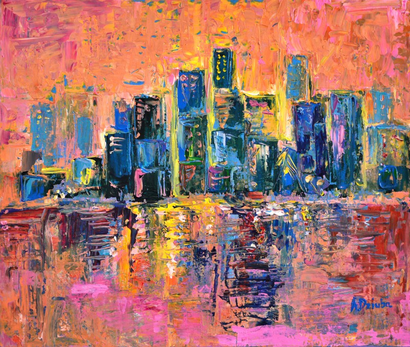 Pink Sky - original abstract acrylic painting of the sunset over the New York Harbour by Adriana Dziuba