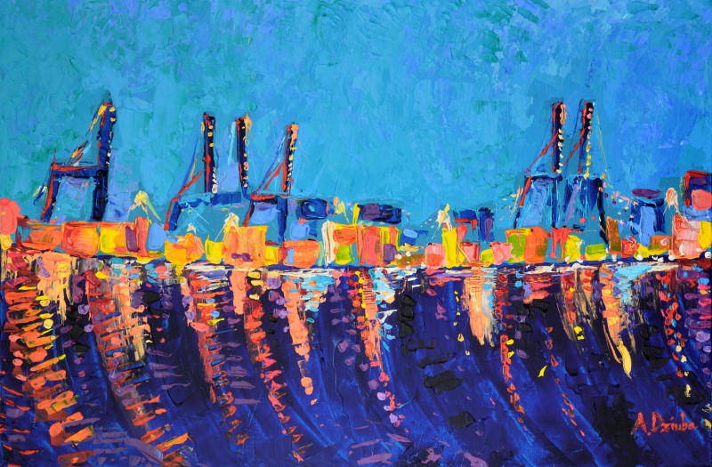 Port of Malaga, original, abstract, acrylic painting of the port of Malaga by Adriana Dziuba
