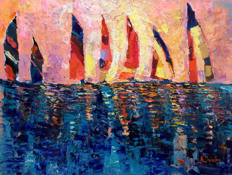 Race at Dusk – palette knives, original modern abstract acrylic painting on canvas, sailing boats race at dusk by Adriana Dziuba, Size: 80x60cm