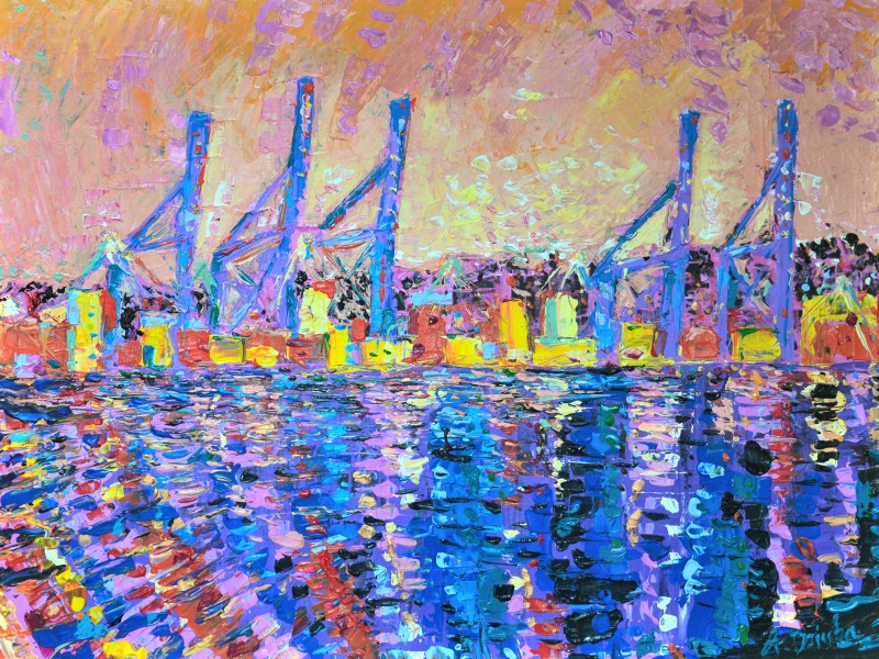 Sunset Over Port Of Malaga, original, abstract, acrylic painting of the port of Malaga in Spain at Sunset by Adriana Dziuba