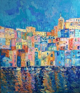 Bay of Naples #2, Original acrylic, palette knives painting on canvas of Italy and Naples by Adriana Dziuba