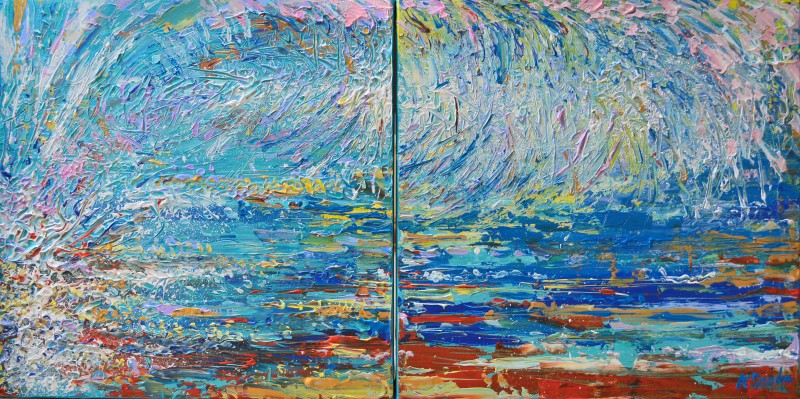 Blue Wave, Original Painting on Canvas by Adriana Dziuba,