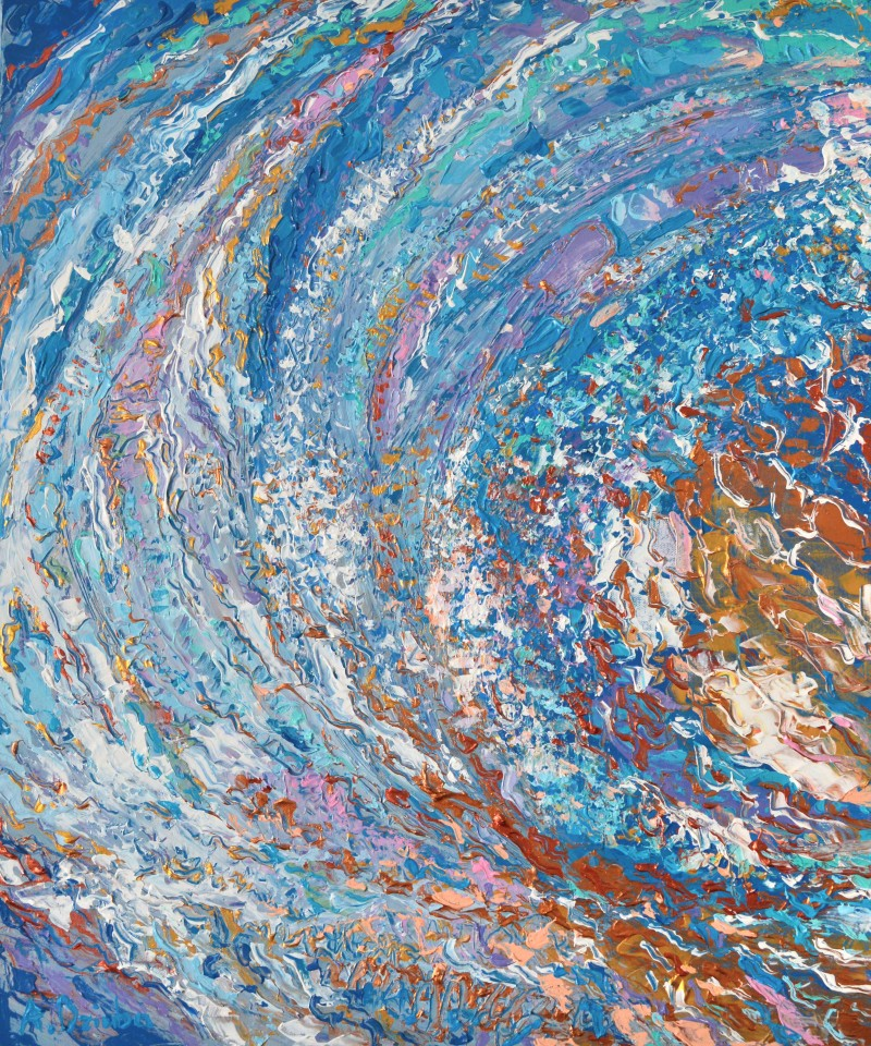 Crystal Wave, Original Painting, acrylic abstract wave painting on Canvas by Adriana Dziuba
