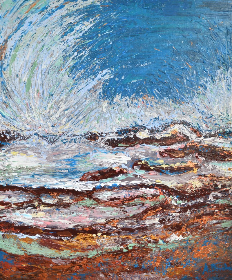 Ocean Waves, Original Painting, acrylic abstract wave painting on Canvas by Adriana Dziuba