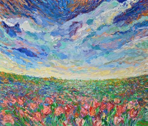 Field of Tulips, Original acrylic, palette knives landscape painting of meadow with tulips by Adriana Dziuba