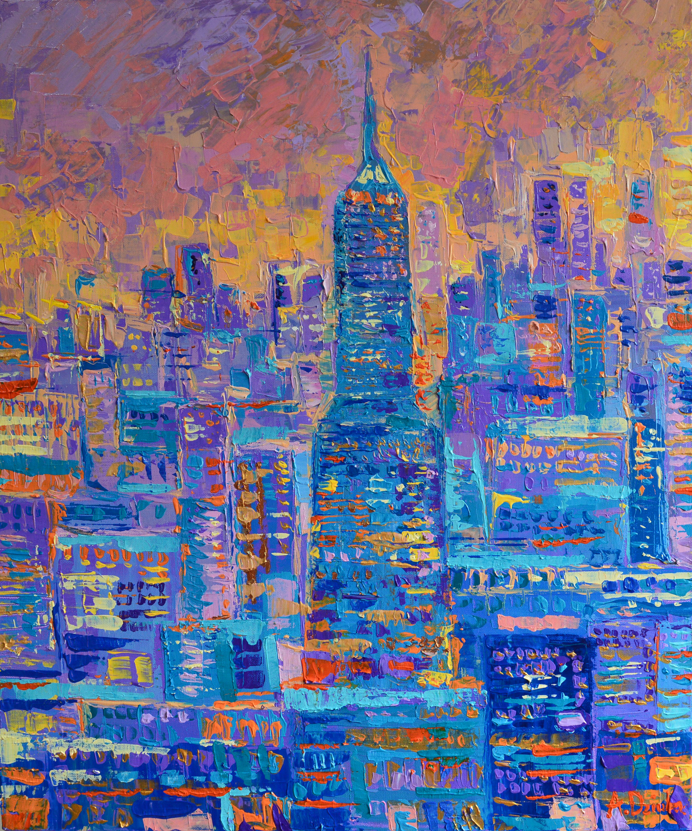 Manhattan, original palette knife acrylic on canvas inspired by vibrant New York by Adriana Dziuba
