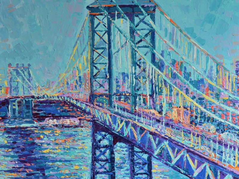 Manhattan Bridge, modern acrylic palette knife painting on canvas inspired by beautiful New York City Landmarks by Adriana Dziuba