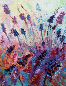 Purple Provence, Original acrylic, palette knives painting on canvas of purple field of lavender in Provence in France by Adriana Dziuba