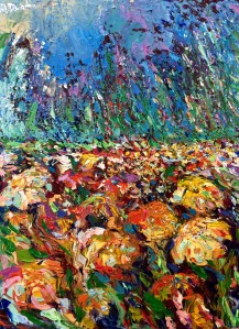 Wild Meadow, Original acrylic, palette knives painting on canvas of Italy and Naples by Adriana Dziuba
