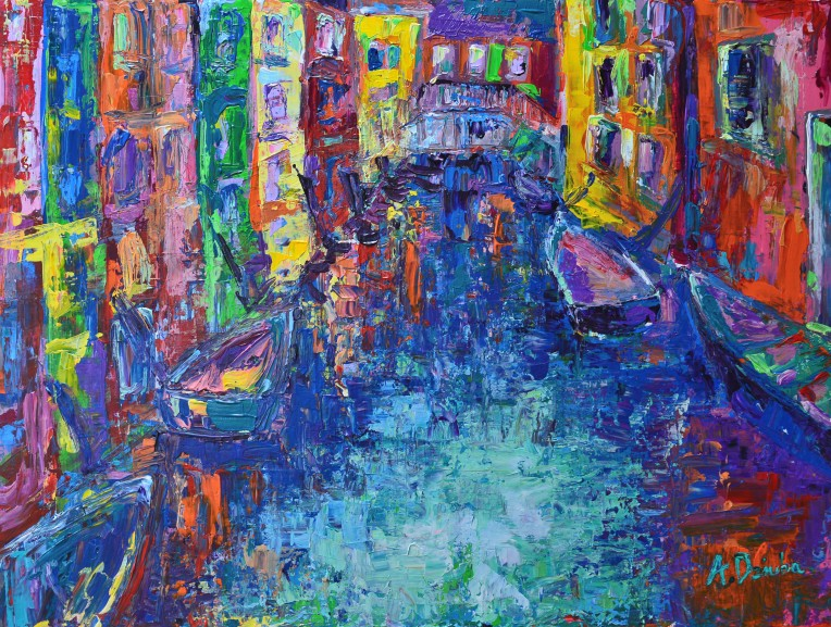 City of Canals, original palette knife acrylic painting of vibrant Venice with colourful houses and boats by Adriana Dziuba