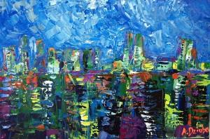 Dockyard Blues - original abstract painting by Adriana Dziuba