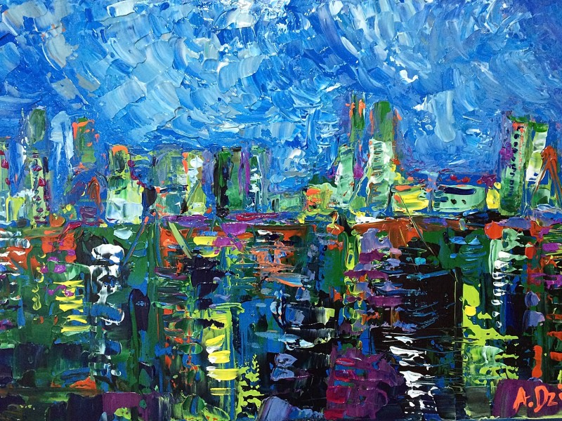 Dockyard Blues - original abstract painting by Adriana Dziuba