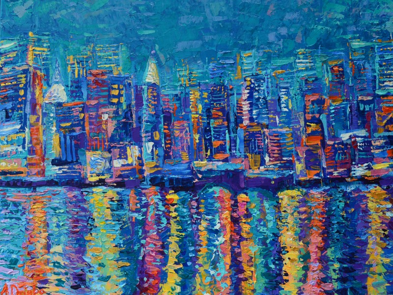 New York - The City That Never Sleeps original modern palette knife acrylic painting on canvas by Adriana Dziuba