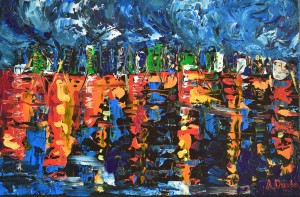 Sleepless City - Original abstract painting of the Hong Kong Harbour by Adriana Dziuba