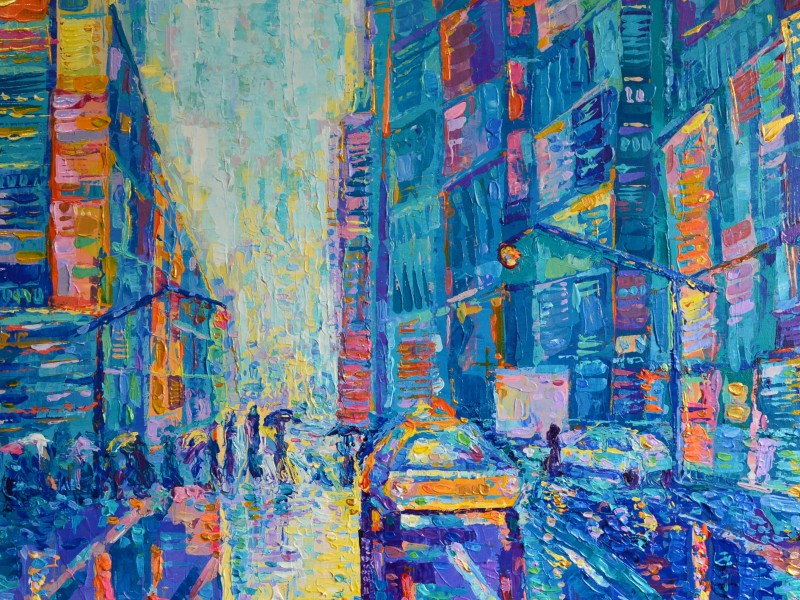 Streets of New York, original palette knife acrylic painting on canvas inspired by vibrant city painted by Adriana Dziuba