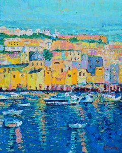 Boats of Genoa, Original acrylic palette knife painting on canvas of colourfull houses and boats of Genoa by Adriana Dziuba