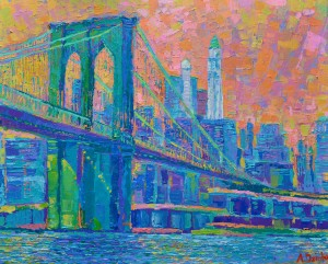 Brooklyn Bridge, Original modern palette knife acrylic painting of New York City and Brooklyn Bridge by Adriana Dziuba