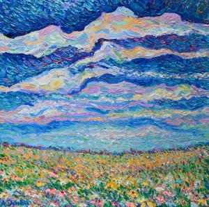 Spring Meadow, Original acrylic, palette knives landscape painting of meadow with spring flowers by Adriana Dziuba