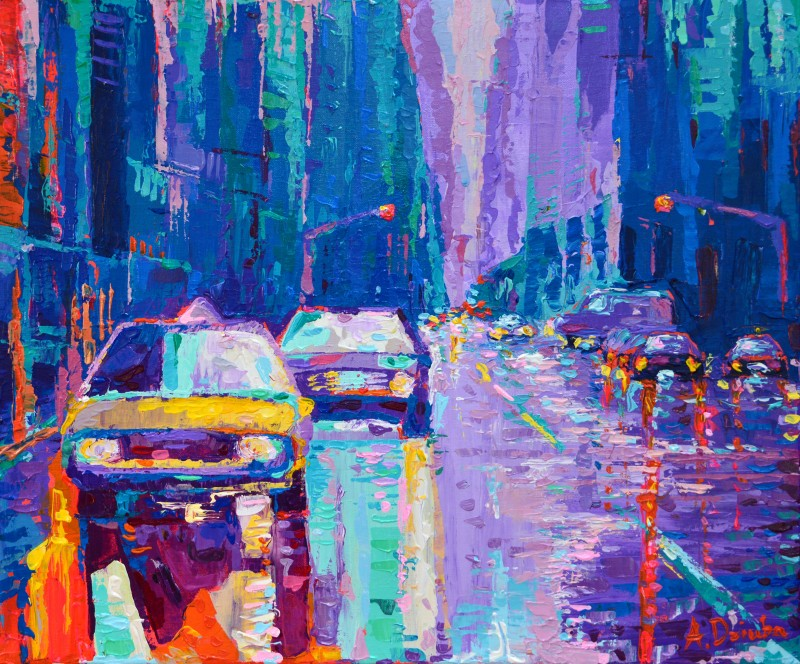 Streets of New York #2, original modern palette knife city painting of New York and vibrant yellow cabs by Adriana Dziuba