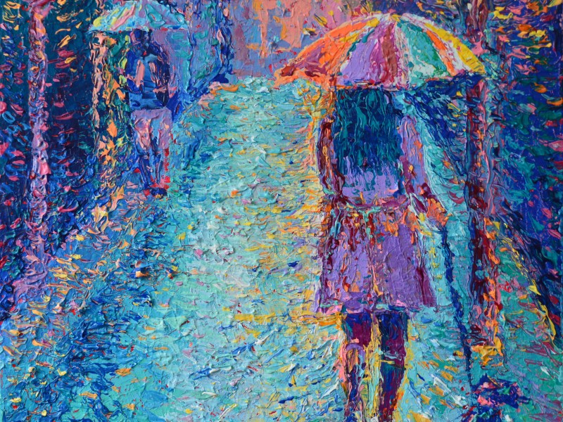 Girl with Rainbow Umbrella, original small modern palette knife acrylic painting on canvas of Girl walking with umbrella at rainy day painted by Adriana Dziuba