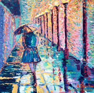Girl with Umbrella, original small modern palette knife acrylic painting on canvas of Girl walking with umbrella at rainy day painted by Adriana Dziuba