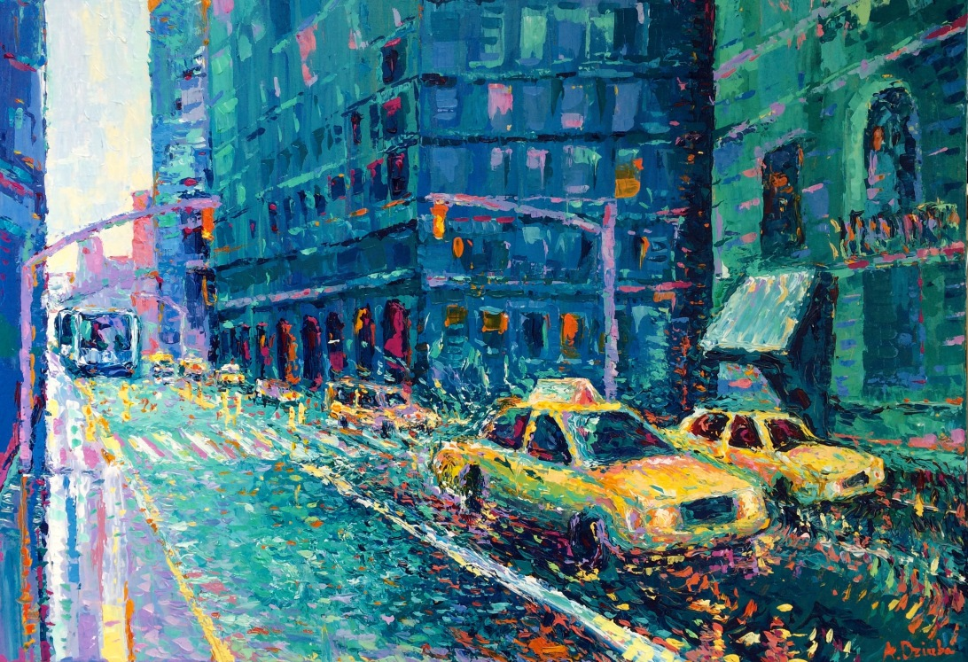 Rainy Day in New York , original modern palette knife city painting of New York and vibrant yellow cabs by Adriana Dziuba