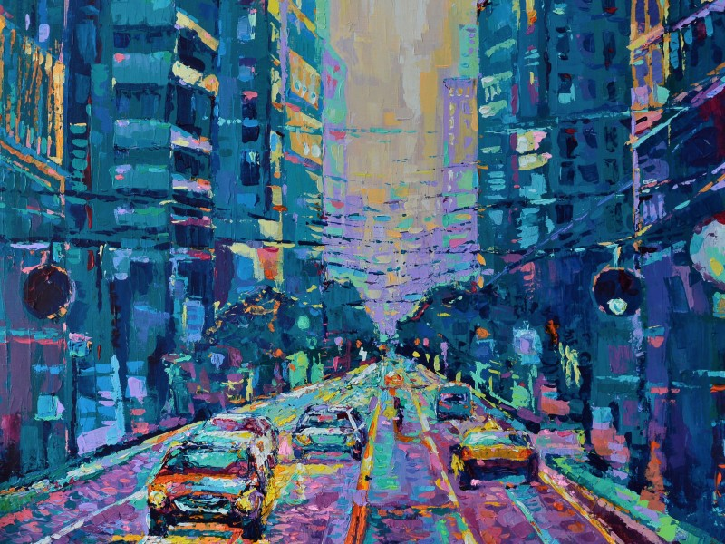Streets of San Francisco, original large modern palette knife acrylic painting on canvas inspired by vibrant city of San Francisco painted by Adriana Dziuba
