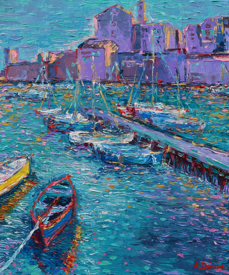 Fishing Boats of Giovinazzo original palette knife city landscape of Italy and coast with fishing boats by Adriana Dziuba