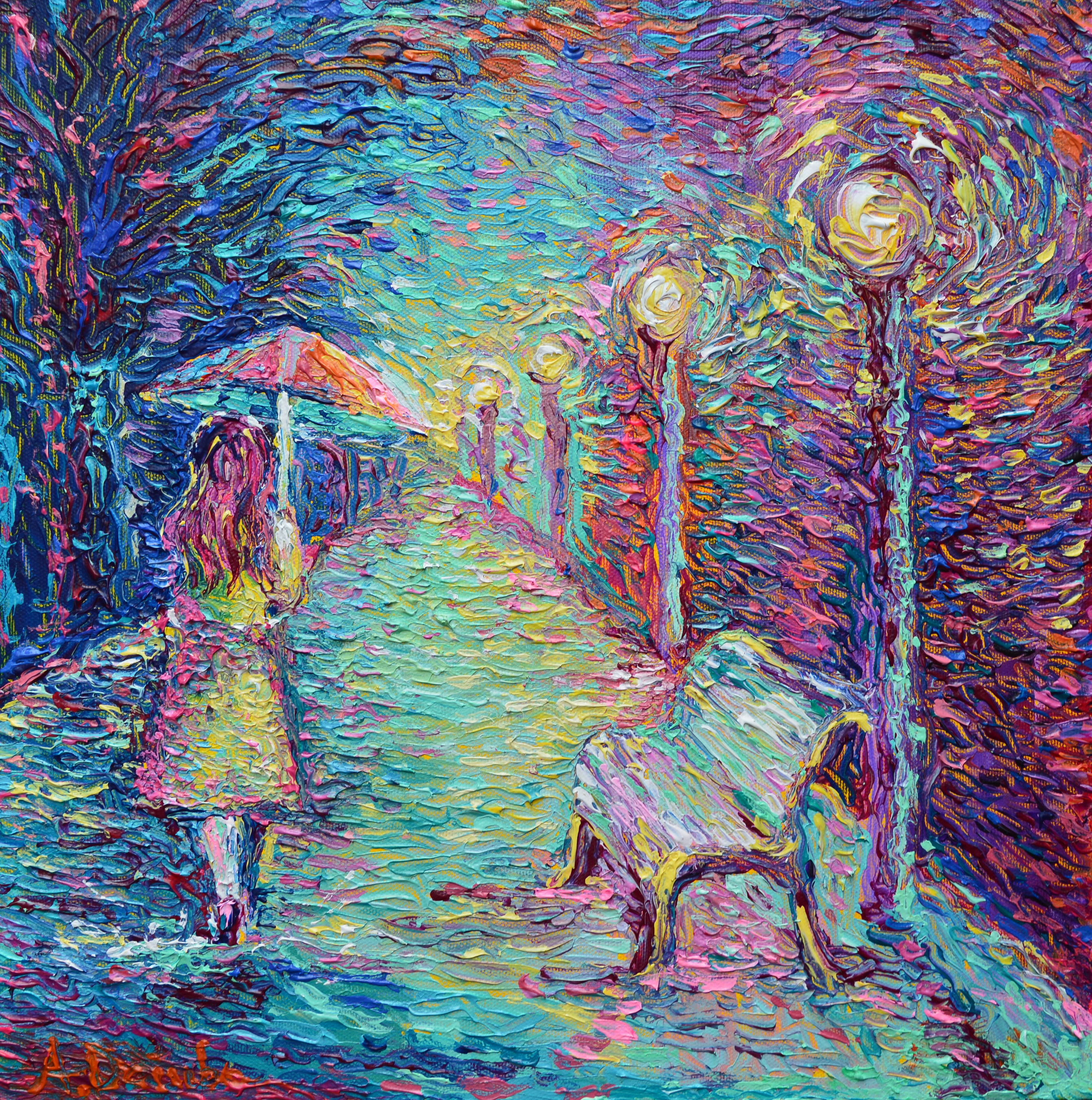 Girl with Pink Umbrella, original small modern palette knife acrylic figurative urban city landscape painting on canvas by Adriana Dziuba