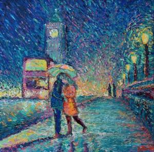 Lovers in Rainy London, original modern palette knife figurative urban city landscape by Adriana Dziuba