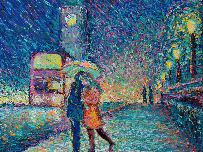 Lovers in Rainy London, original modern palette knife figurative urban city landscape by Adriana Dziuba