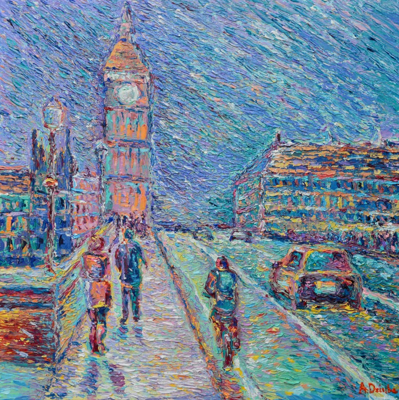 Streets of London, original modern palette knife figurative urban city landscape by Adriana Dziuba