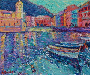 Sunset in Port of Vernazza original palette knife city landscape painting of beautiful Vernazza harbur in Italy by Adriana Dziuba