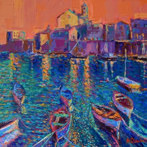 Boats of Giovinazzo at Sunset original palette knife city landscape of Italy and coast with fishing boats by Adriana Dziuba