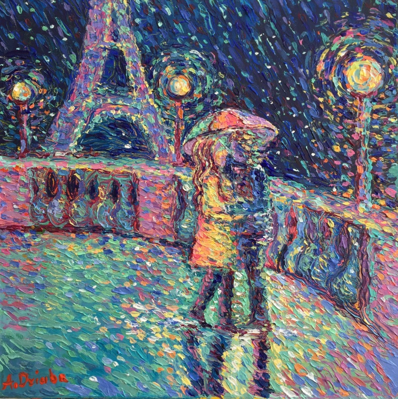 Lovers in Rainy Paris #2 | 40cm x 40cm | Acrylic on Canvas | 2017 | Original Sold | ©Adriana Dziuba
