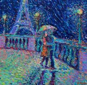 Lovers in Rainy Paris, original modern palette knife figurative urban city landscape by Adriana Dziuba