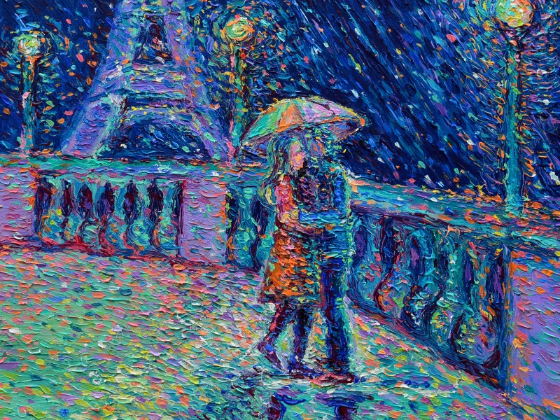Lovers in Rainy Paris | 60cm x 60cm | Acrylic on Canvas | 2017 | Original Sold | ©Adriana Dziuba