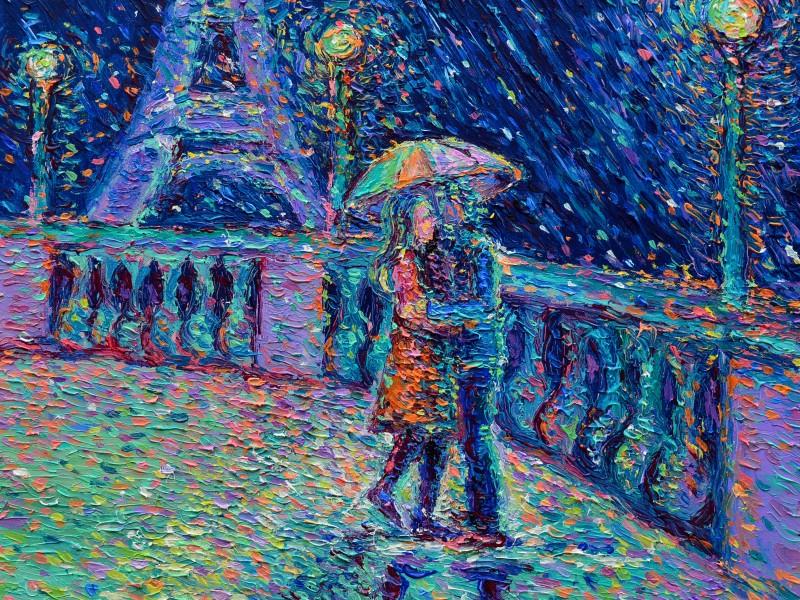 Lovers in Rainy Paris | 60cm x 60cm | Acrylic on Canvas | 2017 | Original Sold | ©Adriana Dziuba