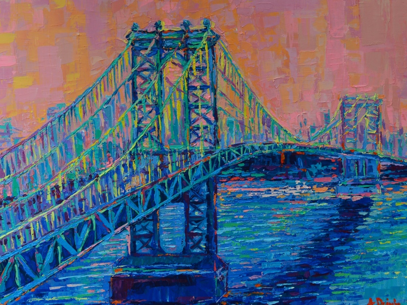 Manhattan Bridge at Sunset , modern acrylic palette knife painting on canvas inspired by beautiful New York City Landmarks by Adriana Dziuba