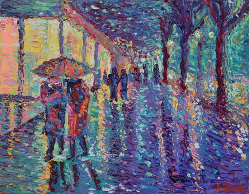 Rainy Night at The City, original modern palette knife figurative urban city landscape by Adriana Dziuba