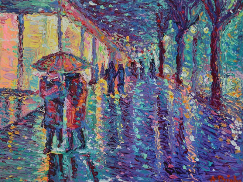 Rainy Night at The City, original modern palette knife figurative urban city landscape by Adriana Dziuba