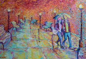 Walking in Autumn Rain, original modern palette knife figurative urban city landscape by Adriana Dziuba