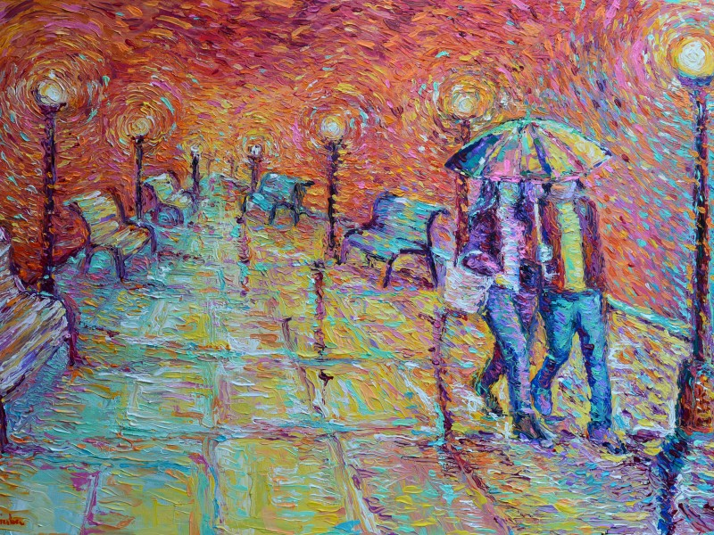 Walking in Autumn Rain, original modern palette knife figurative urban city landscape by Adriana Dziuba